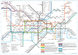 Detailed subway map of London city.