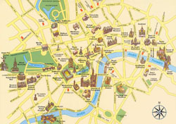 Detailed tourist map of London city center.