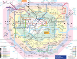 Large detailed public transport map of London city.