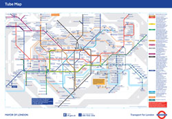 Large detailed tube map of London city.
