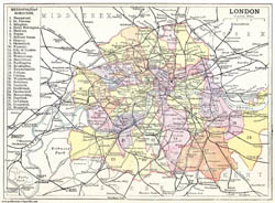 Old map of London city 1906.