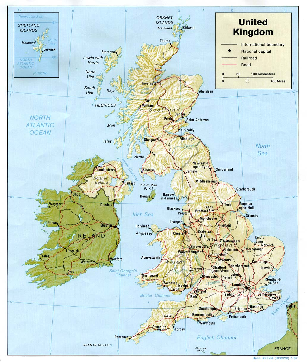 Maps of the united kingdom detailed map of great britain in political map of united kingdom with relief roads and cities sciox Gallery