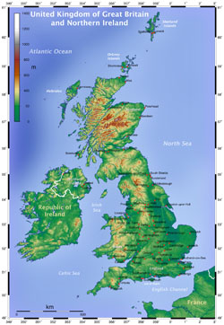 Topographical map of Great Britain.