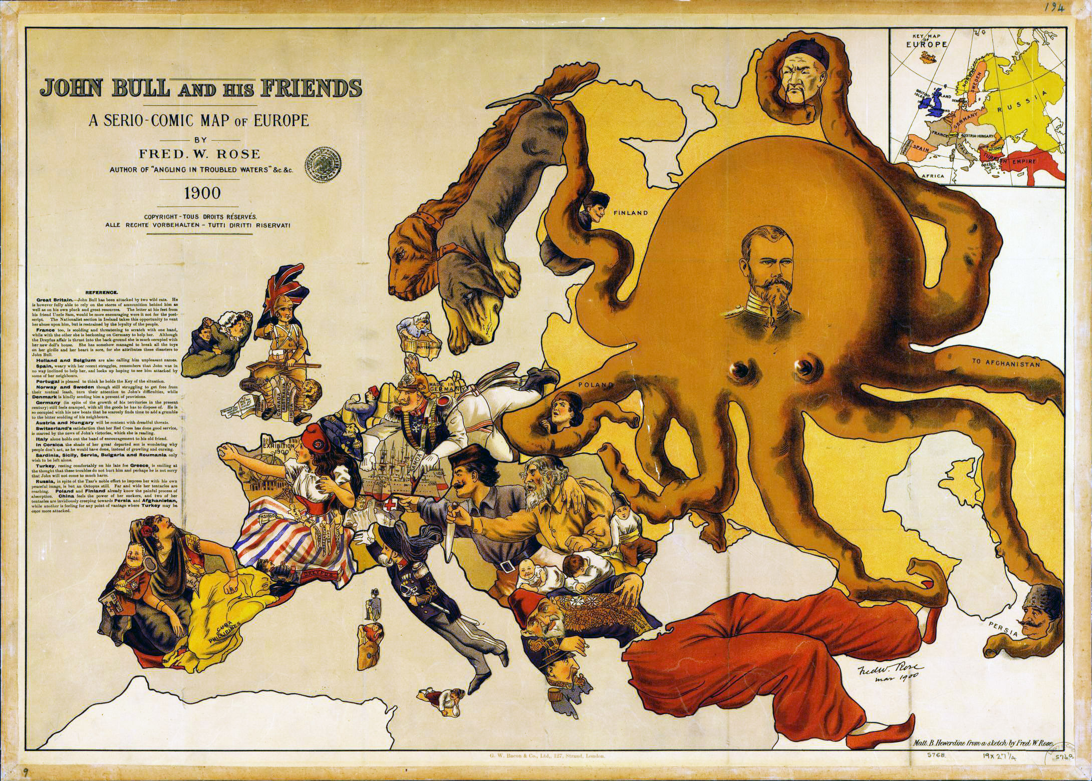 large detailed a serio comic map of europe 1900