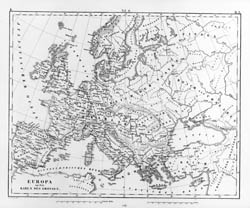 Large detailed old map of Europe - 1851.