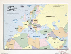 Large detailed old political map of Europe, North Africa and the Middle East - 1982.