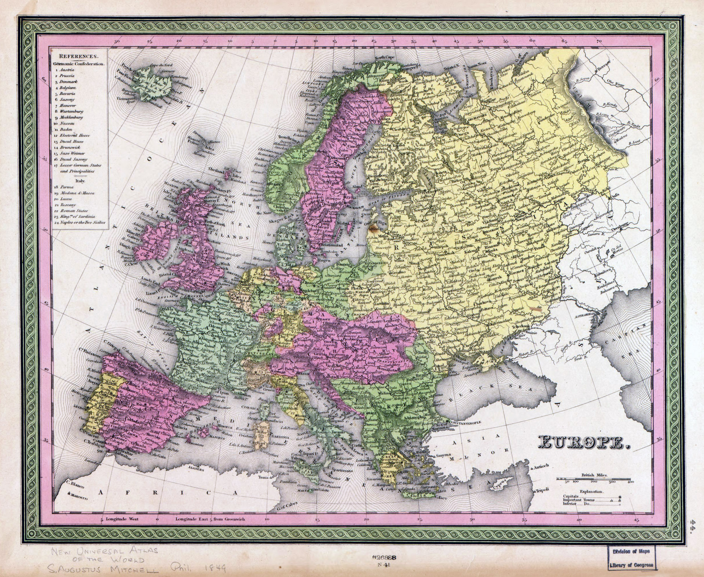 large detailed old political map of europe with cities 1849