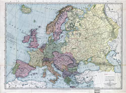 Large detailed old political map of Europe - 1912.