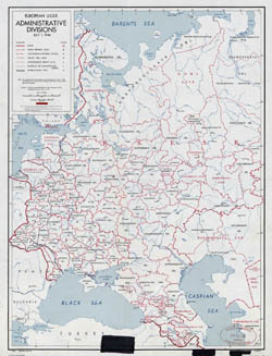 Detailed old administrative divisions map of European USSR - 1946.