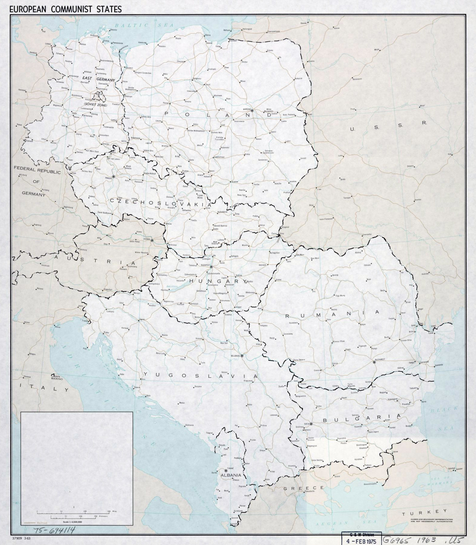 Other maps of europe maps of central europe eastern europe detailed old map of european communist states 1963 sciox Images
