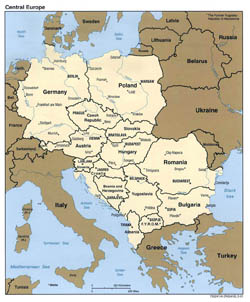 Detailed political map of Central Europe - 2001.