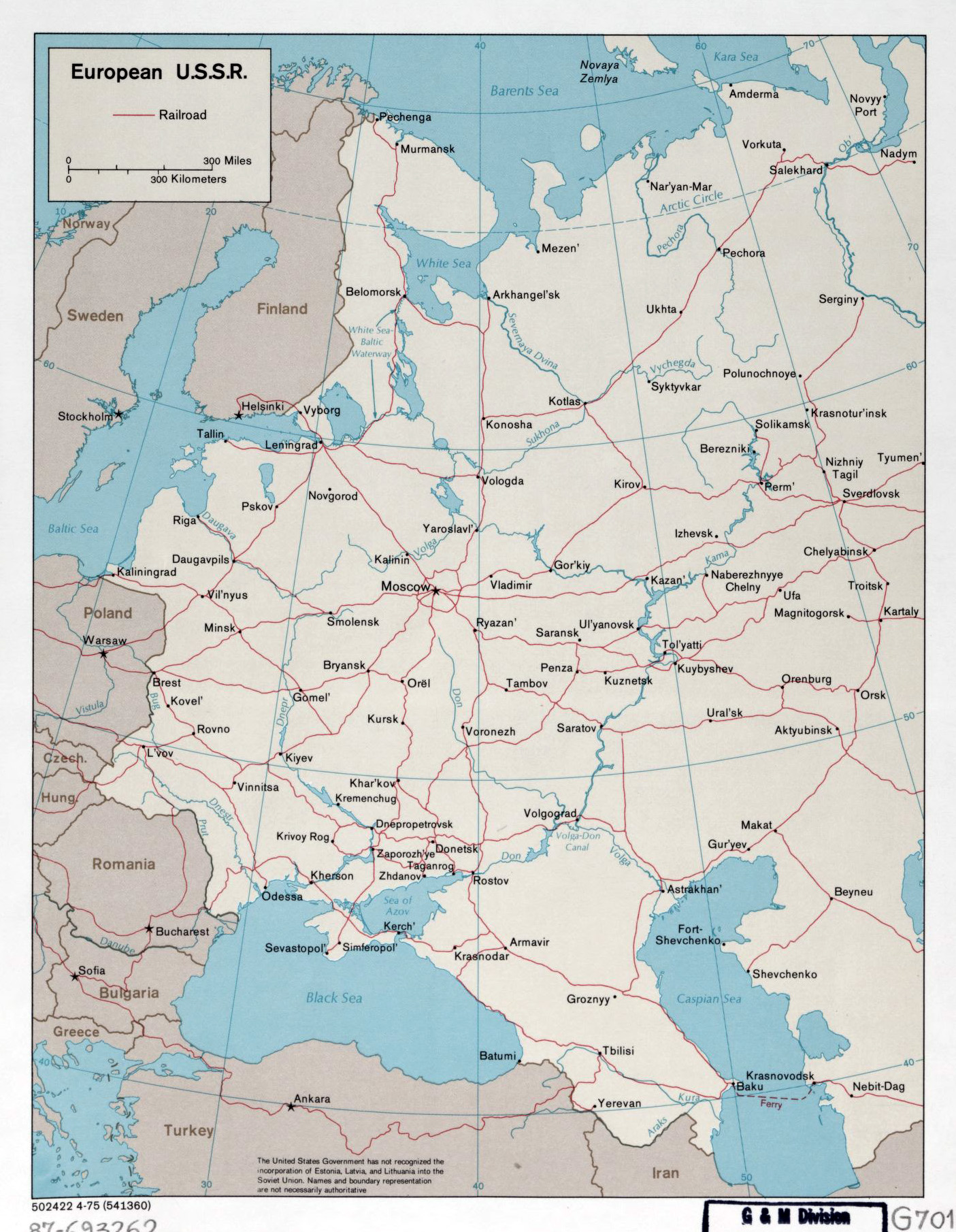 large detailed map of european ussr with railroads 1975