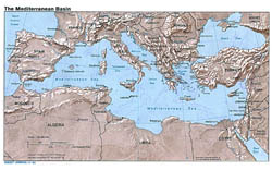 Large map of the Mediterranean Basin with relief - 1982.
