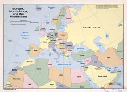 Large political map of Europe, North Africa and the Middle East - 1982.